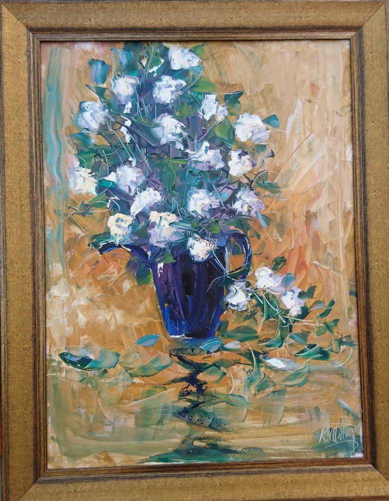 Mavi Vazolu Çiçek Tablosu